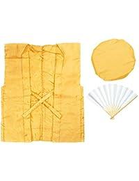 [キョウエツ] ちゃんちゃんこ 米寿 傘寿 黄色 無地 米寿のお祝い 3点セット(黄色ちゃんちゃんこ、頭巾、扇子)