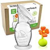 Haakaa Manual Breast Pump with Suction Base Milk Saver   for Breastfeeding   with Leak-Proof Stopper Gift Box (Orange/White)(