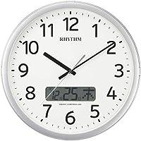 掛け時計 電波時計 チャイム付き プログラムカレンダー01SR シルバー リズム時計 4FNA01SR19