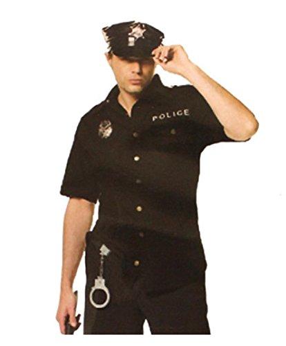(pkpohs) ポリス 衣装 [シャツ、 帽子、手錠、ホイッスル ]4点セット コスチューム 警官 警察官 保安官 ハロウィン 仮装 コスプレ (フリーサイズ)