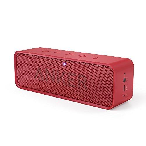Anker SoundCore ポータブル Bluetooth4.0 スピーカー 24時間連続再生可能【デュアルドライバー / ワイヤレススピーカー / 内蔵マイク搭載】(レッド) A3102091