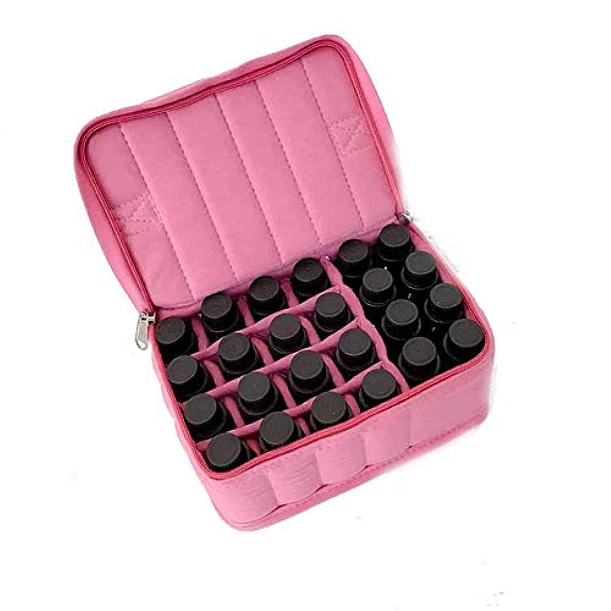 生活軽くレザーアロマセラピー収納ボックス アロマオイルスーツケースハードシェル旅行やストレージ外部ストレージ統合袋の17本のボトル エッセンシャルオイル収納ボックス (色 : ピンク, サイズ : 18X13.5X8.5CM)