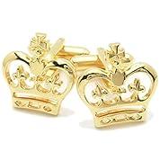 王様のように凛々しく ゴールドの王冠カフス(カフリンクス/カフスボタン) [ウェア&シューズ]