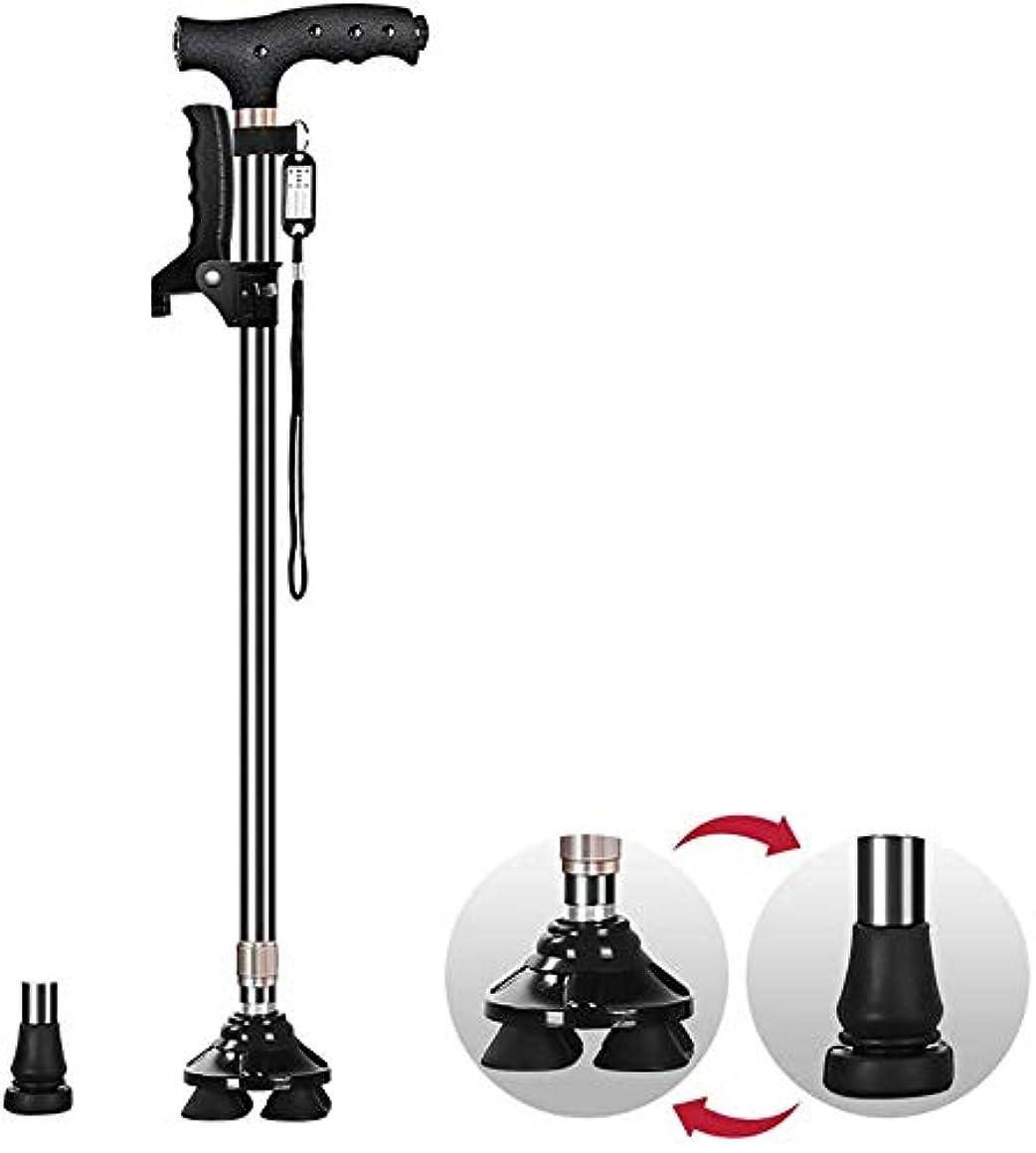 トランクライブラリ名前で経歴ステッキ、拡張可能なステッキ、松葉杖、LEDライト付きダブルハンドルワンフットスモール4フィート交換望遠鏡72-95 cm(28.35-37.4インチ)2色(カラー:ブラック)