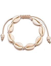Howard Alleny Handmade Adjustable Weaving Bracelet Women Foot Chain Shell Anklets Jewelry (White)