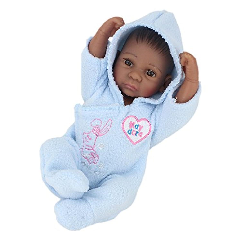 kaydora 10インチフルシリコンReborn Baby African American Boy Washable Handmade Lifelike人形BatheパートナーToy