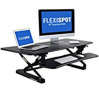 FlexiSpot スタンディングデスク ガス圧昇降机 パソコン台 省ペース卓上置きタイプ 高さ12段階調節付 デスク幅119cm 2台置き ブラック M3B