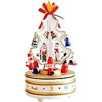 Amiley Musicalボックス、夢の8 – ボックスクリスマスツリーのクリスマス木製カルーセル音楽ボックス誕生日ギフト One Size マルチカラー As-20170923
