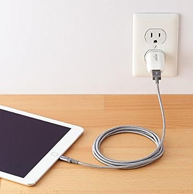 AmazonBasics Apple Certified Nylon Braided Lightning to USB Cable - 1.8 m (6 ft) - Dark Grey