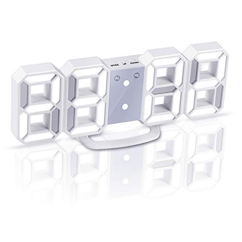RoomClip商品情報 - Jコートン LEDデジタル時計 3Dデザイン アラーム機能付き 置き時計 壁掛け時計 明るさ調整 日本語取扱説明書付き  十二ヶ月品質保証 (ホワイト)