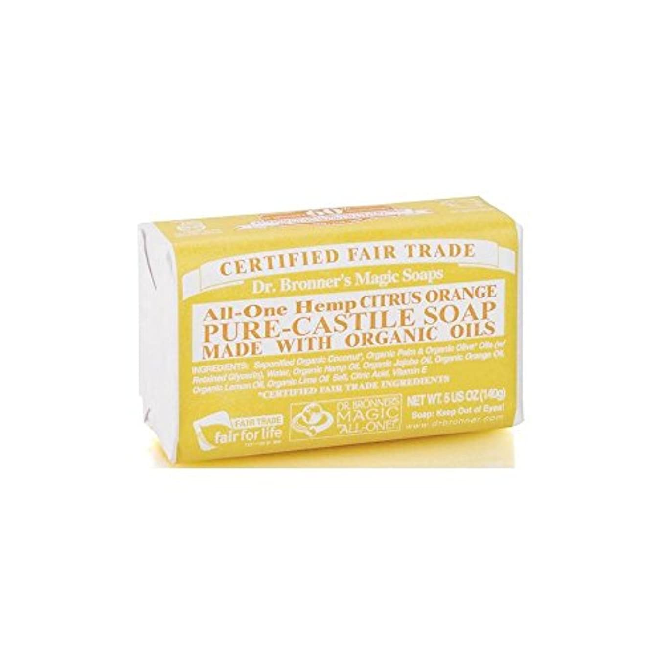紳士贅沢追記Dr. Bronner's Organic Castile Soap Bar - Citrus (140g) Dr.のブロナーズ有機カスティーリャ石鹸バー - シトラス( 140グラム) [並行輸入品]