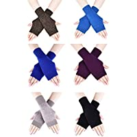 Lindong 6 Pairs Cashmere Fingerless Gloves Arm Warmers Sleeves Thumb Hole Gloves for Women Gils and Men