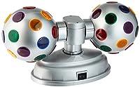 "Lightahead ® LED 4""ツインDisco Ball with UL Adaptor Double回転、2つ4""カラフルディスコボールディスコパーティークラブバーのDJ シルバー LANBLSIL"