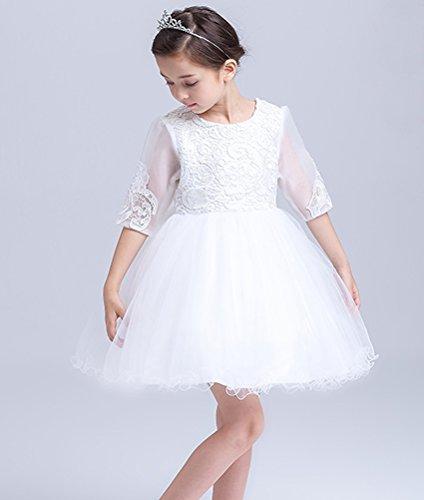 子供レースドレス フラワーガール ピアノ 演奏会 発表会 結婚式 入園式 プリンセスドレス