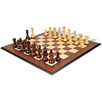 Yugoslavia Staunton Chess Set in Red Sandalwood & Boxwood with Bud Rosewood Molded Chess Board - 3.8