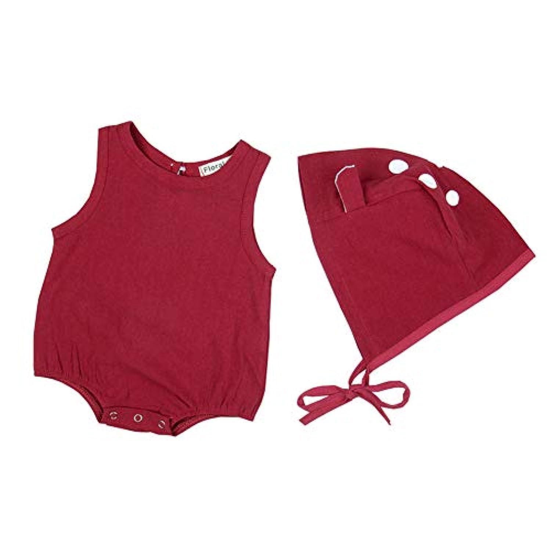 エルフ ベビー (Fairy Baby) 夏 ベビー服 キャミソールロンパース ノースリーブロンパース カバーオール コットン柄 肌着 帽子付き コットン かわいい size 100 (レッド)