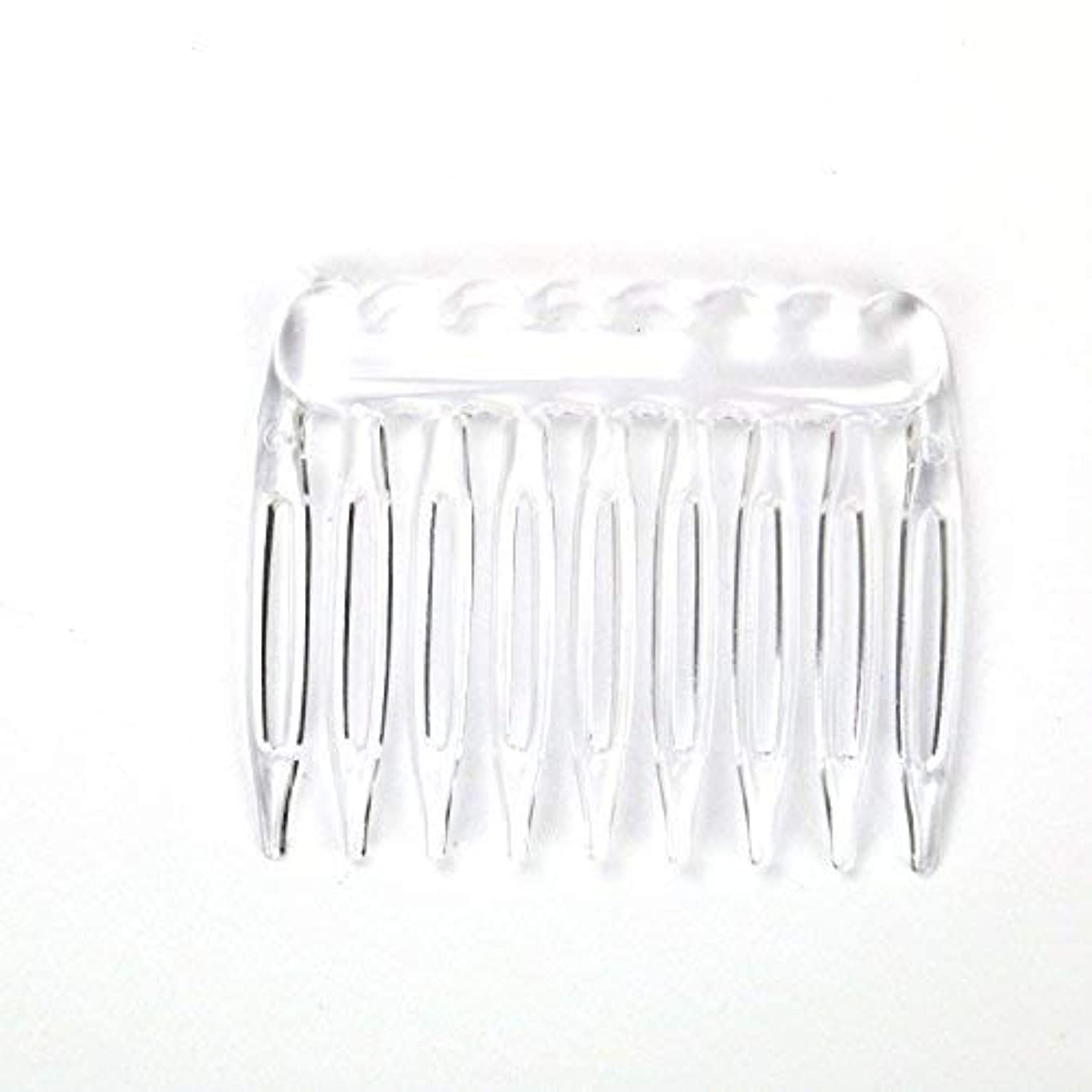 形状信者取得TOPMO Pack of 30 Clear Plain Plastic Smooth Hair Clips Combs Wire Twist Bridal Wedding Veil Combs,9 Teeth Designed...