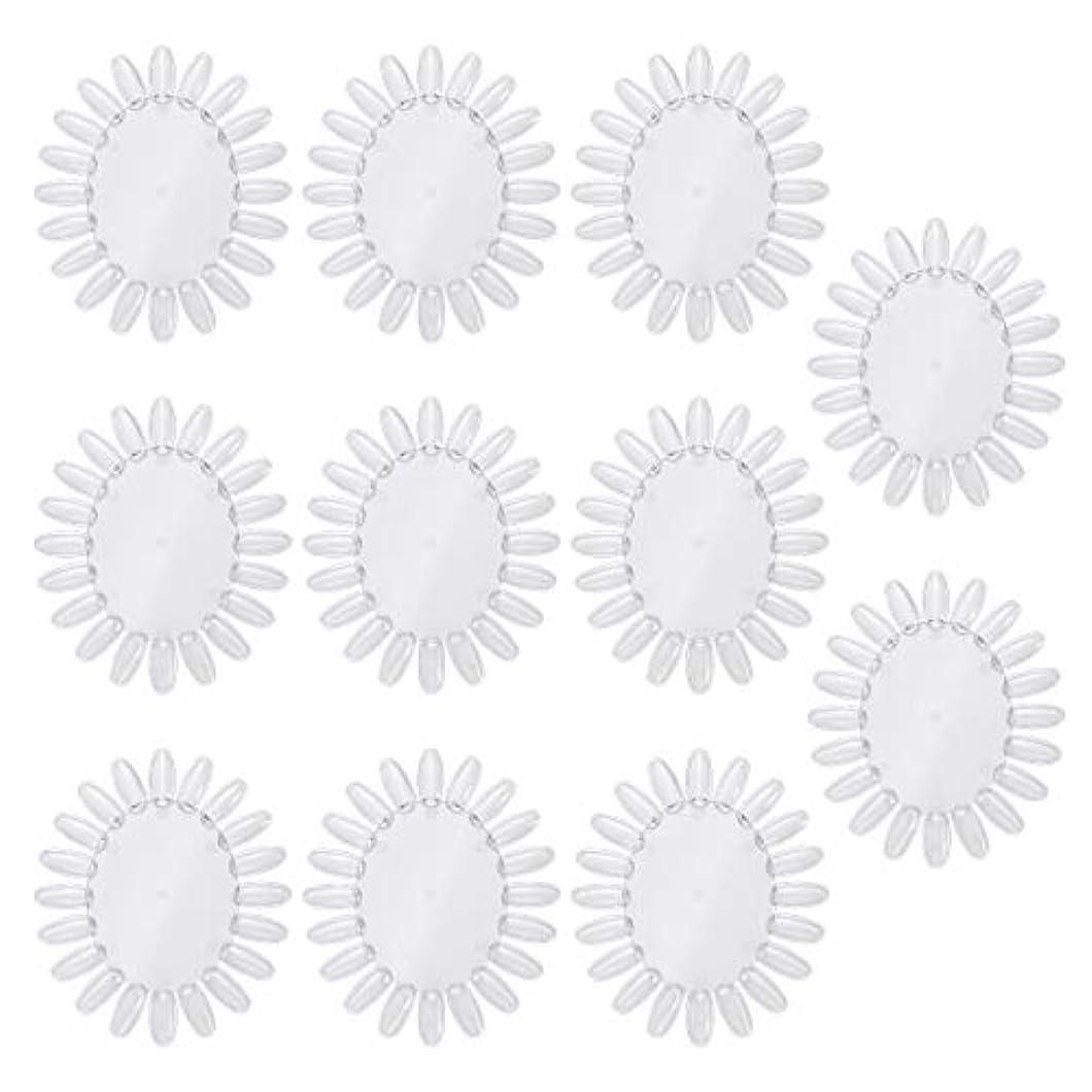バルコニーわずらわしい発表するFrcolor 10個アクリルネイルアートプラクティスホイールポリッシュカラーディスプレイチャートネイルカラーパレット(透明)
