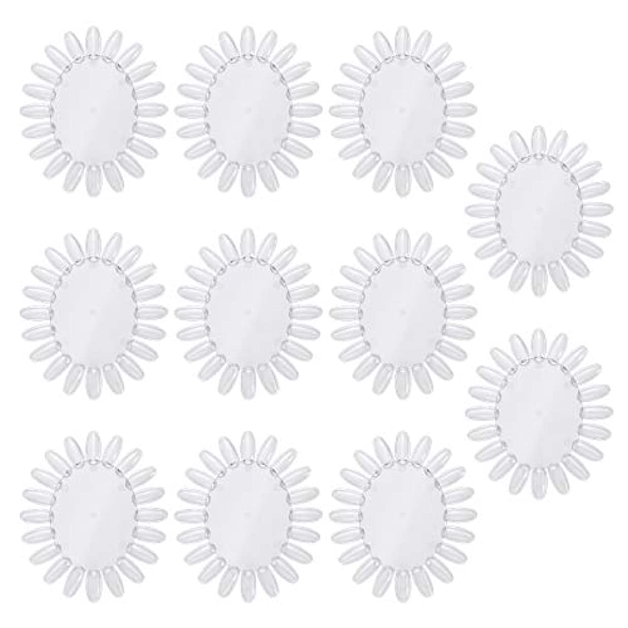 いろいろ鋸歯状スリラーFrcolor 10個アクリルネイルアートプラクティスホイールポリッシュカラーディスプレイチャートネイルカラーパレット(透明)
