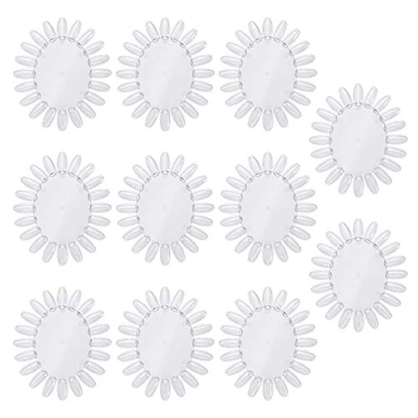 許すカラス可能性Frcolor 10個アクリルネイルアートプラクティスホイールポリッシュカラーディスプレイチャートネイルカラーパレット(透明)