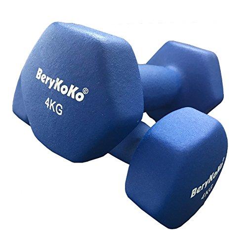 BeryKoKo ダンベル 筋トレ フィットネス シェイプアップ (4kg×2個セット(ブルー)) 正規品/18ヶ月保証