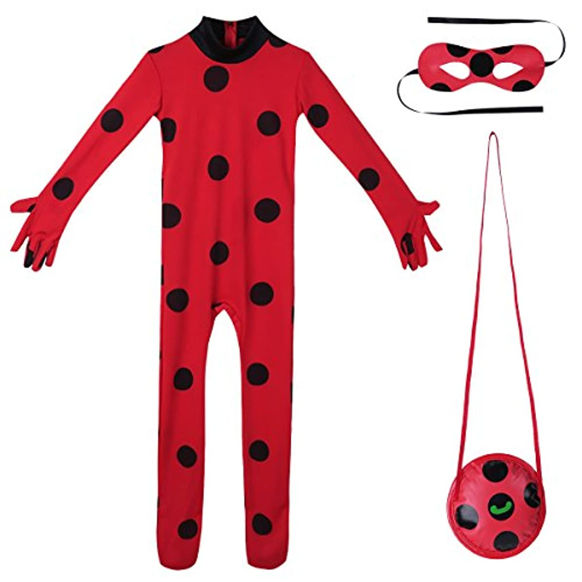 気になる言い聞かせる求める(フィーショー) FEESHOW てんとう虫 少女 子供 ハロウィン コスプレ コスチューム 衣装 ディズニー プリンセス 全身タイツ アイマスク バッグ 可愛い セット レッド M