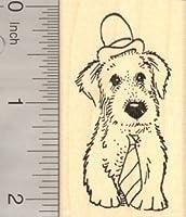 犬の帽子とネクタイ、父の日ゴムスタンプ