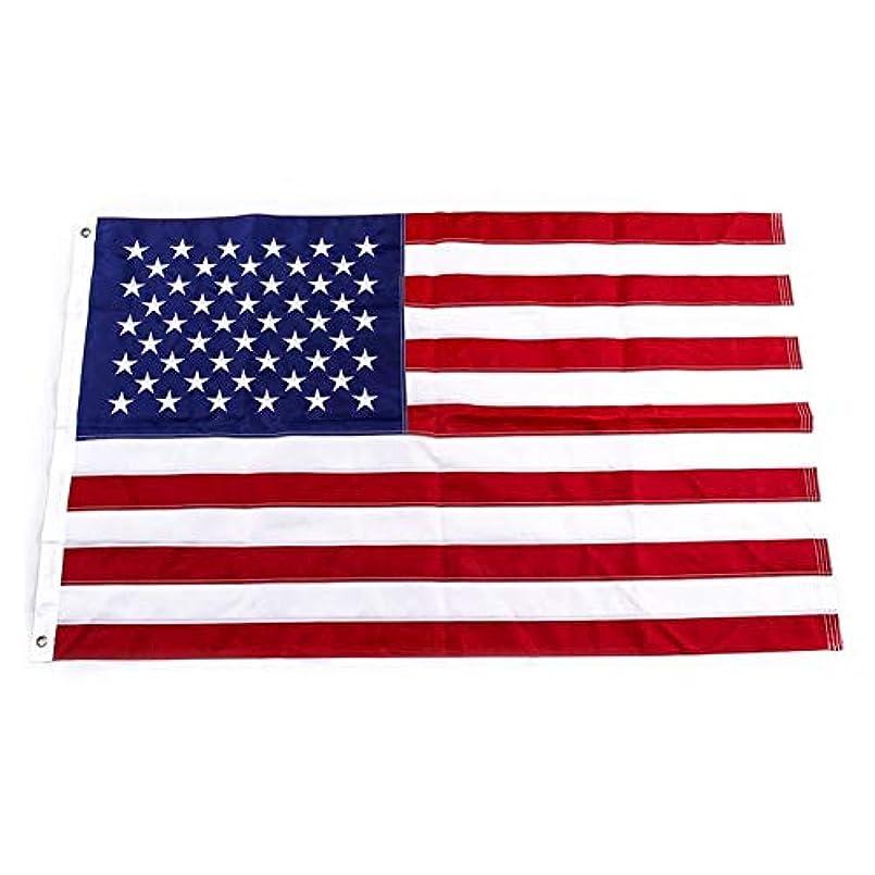 シャッター別の申請中Yafeco U.S. 50 星 縫い付けボートフラッグ 12 x 18インチ ヨットボートエンサイン 航海 米国国旗 縫い付けストライプ、刺繍された星と真鍮のグロメット付き