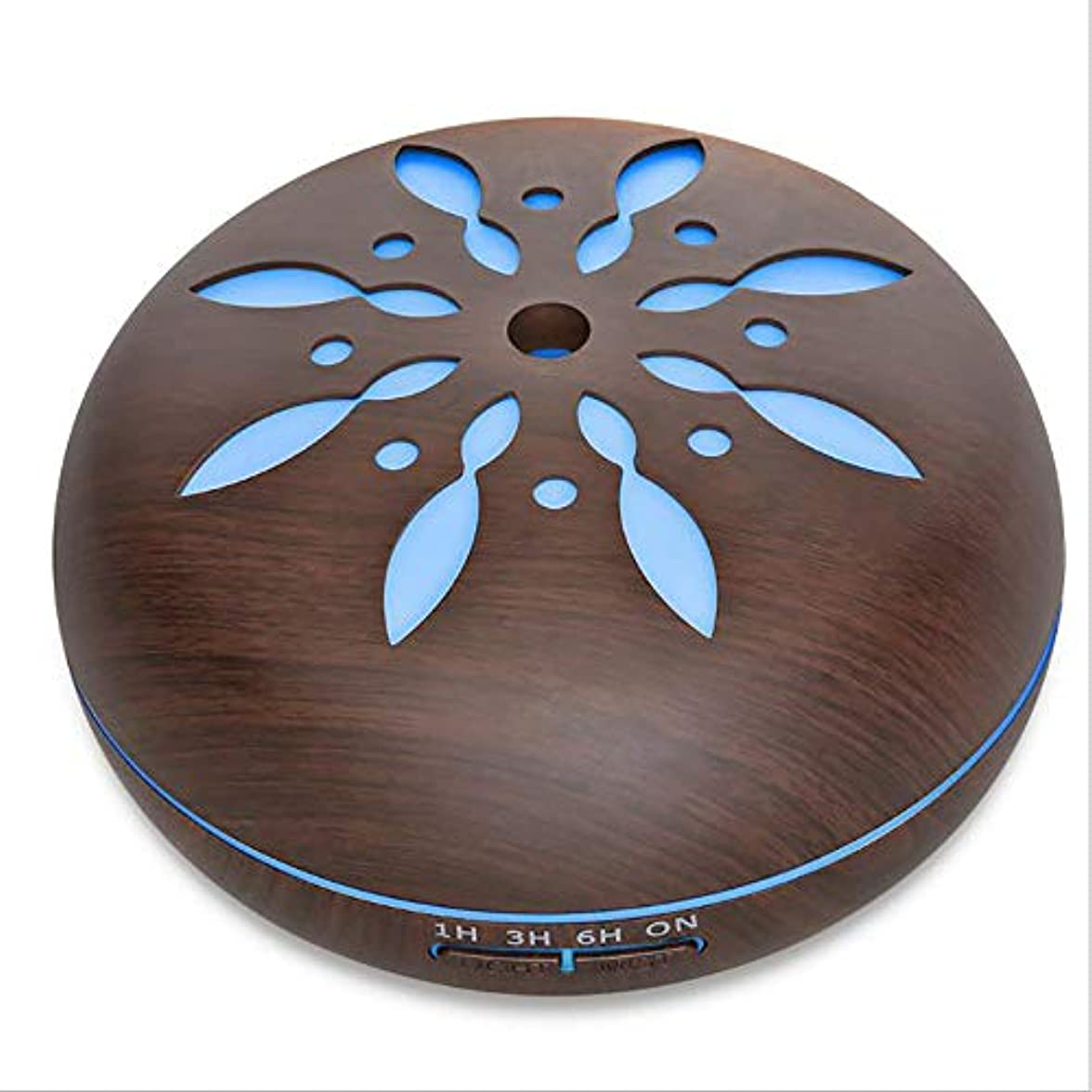 最も早い工場適性ミスト 超音波 香り ネブライザー、 電気の 香り 木製 ホーム 空気 加湿器、 550ml リモコン 木地 アロマテラピー エッセンシャルオイル 香り ディフューザー,Petals1dark
