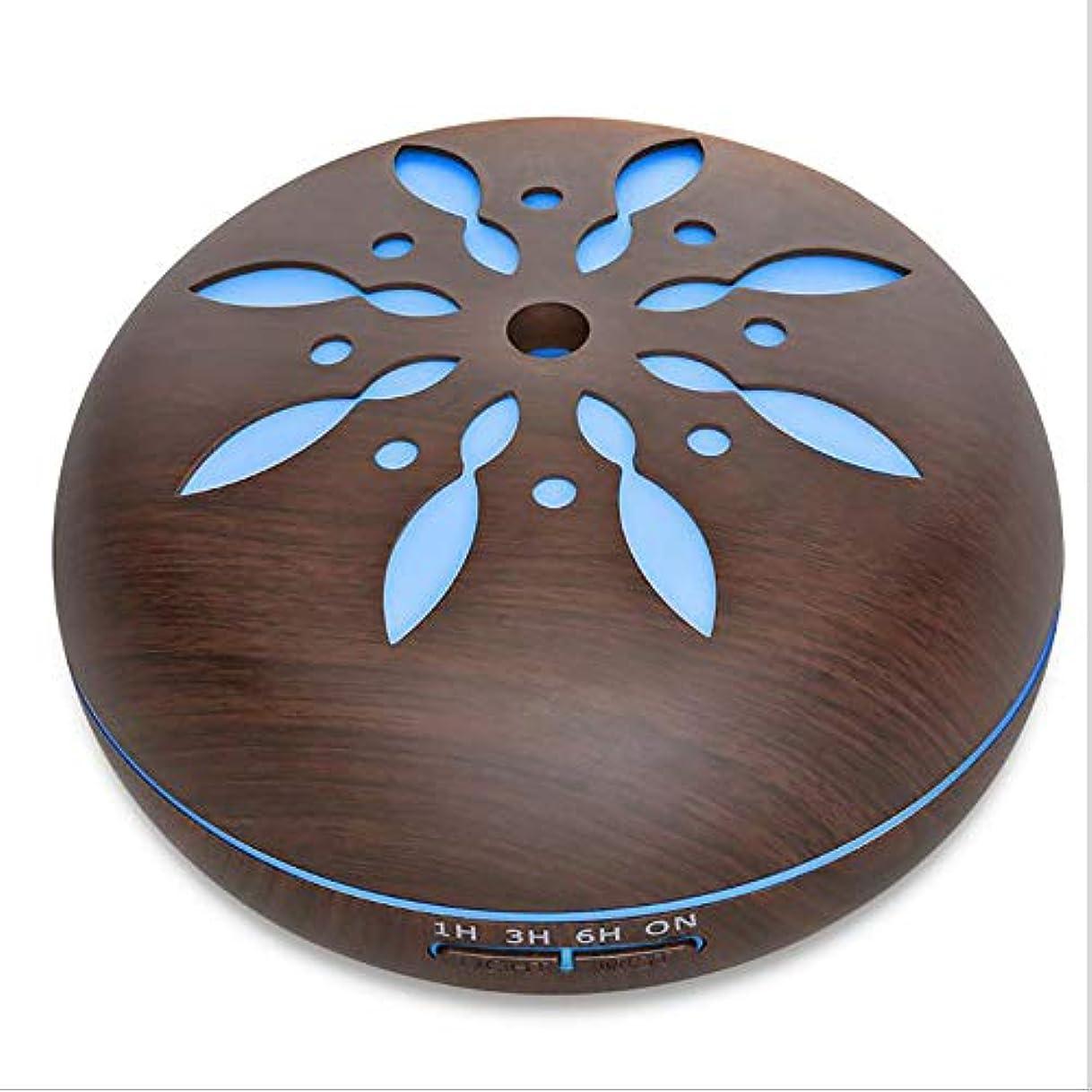 染色ホイール有料ミスト 超音波 香り ネブライザー、 電気の 香り 木製 ホーム 空気 加湿器、 550ml リモコン 木地 アロマテラピー エッセンシャルオイル 香り ディフューザー,Petals1dark