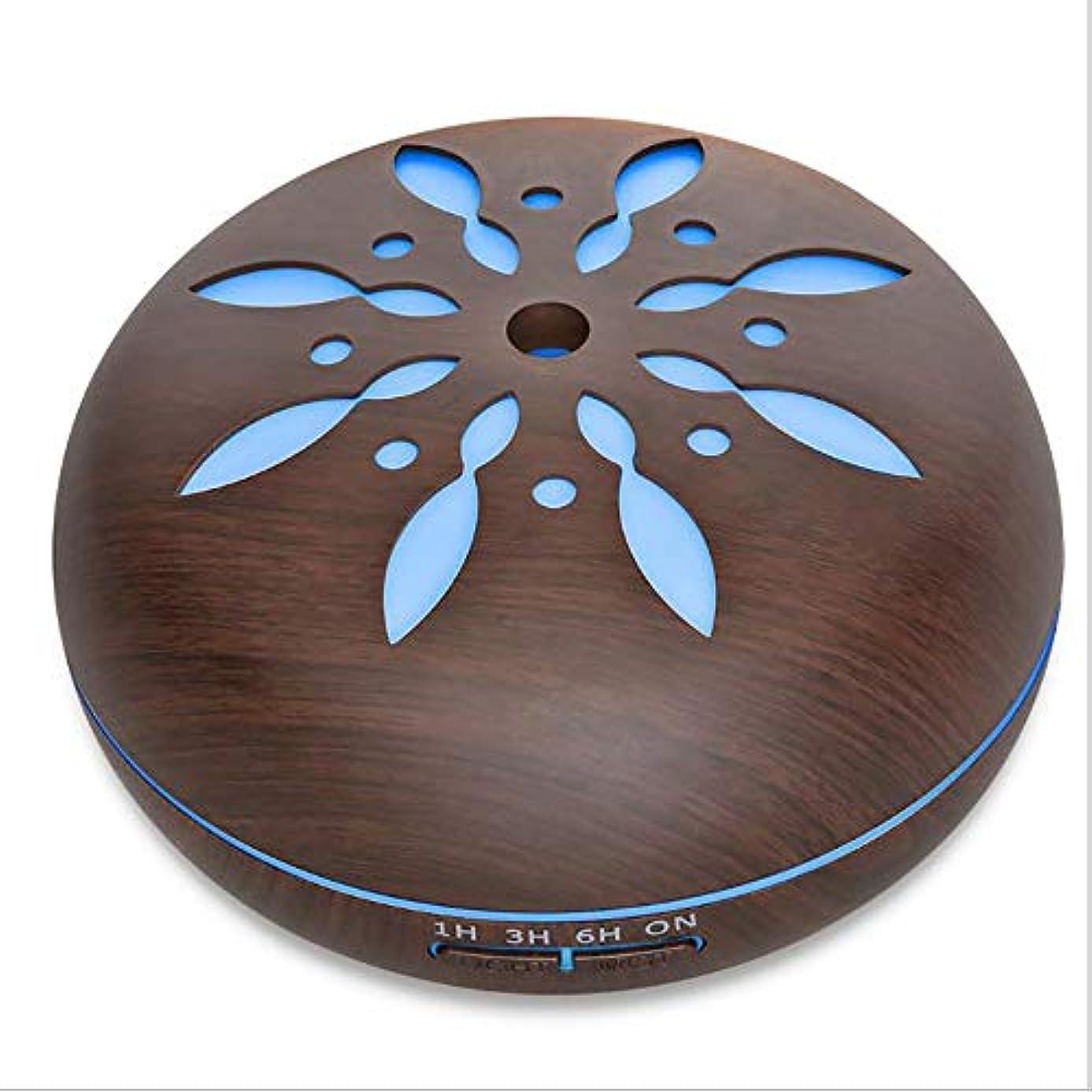ささやき取得するローンミスト 超音波 香り ネブライザー、 電気の 香り 木製 ホーム 空気 加湿器、 550ml リモコン 木地 アロマテラピー エッセンシャルオイル 香り ディフューザー,Petals1dark