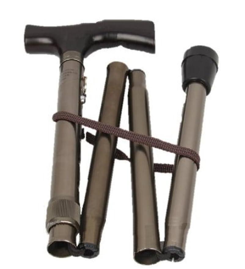 取り壊すナンセンス火山いざという時 折りたたみ 式 杖 コンパクト ステッキ 軽量 携帯 便利 ブロンズ