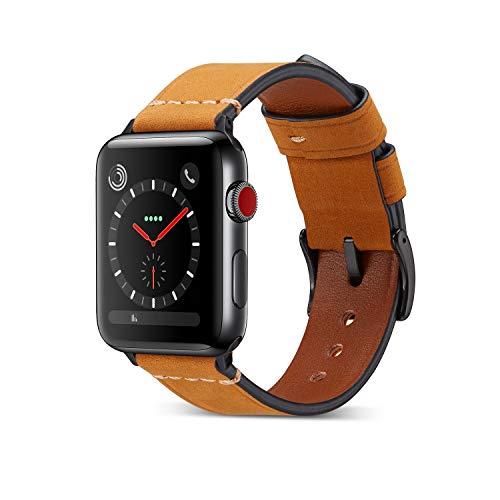 Yakia Apple Watchバンド 本革 アップルウォッチバンド 高級 レザー製 アップルウォッチ ベルト 取付け簡単 iWatch腕時計ストラップ Apple Watch Series 4 / 3 / 2 /1対応 スポーツバンド 38/40mm ブラウン