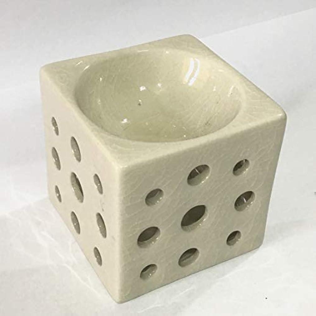 ピラミッド癌ストレスアロマポット 角型(白) 香炉 陶器 アロマ炉 キャンドル式 オイルバーナー