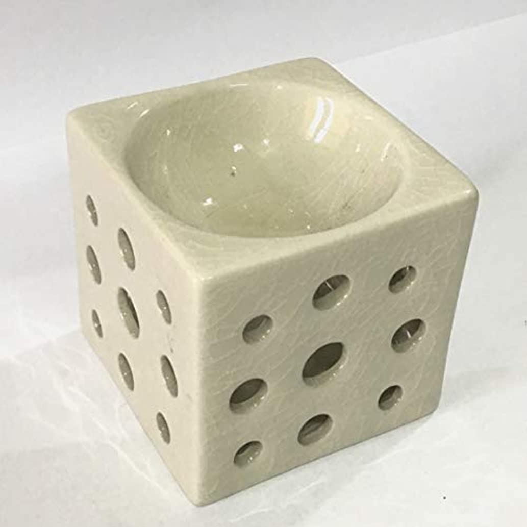 試してみる補体正しくアロマポット 角型(白) 香炉 陶器 アロマ炉 キャンドル式 オイルバーナー