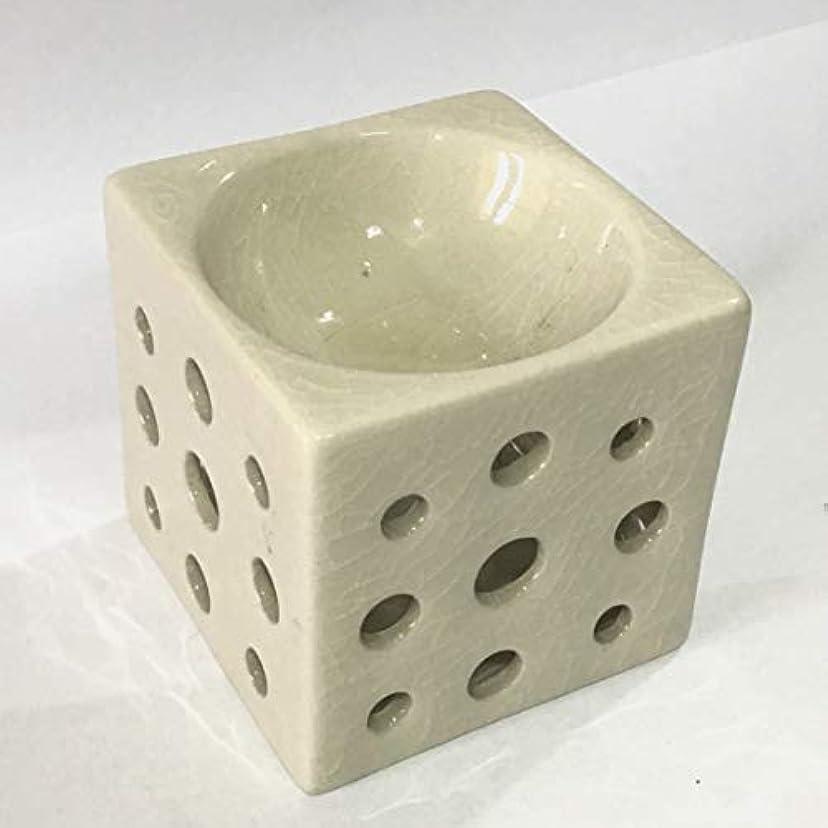 講義調整するに向かってアロマポット 角型(白) 香炉 陶器 アロマ炉 キャンドル式 オイルバーナー