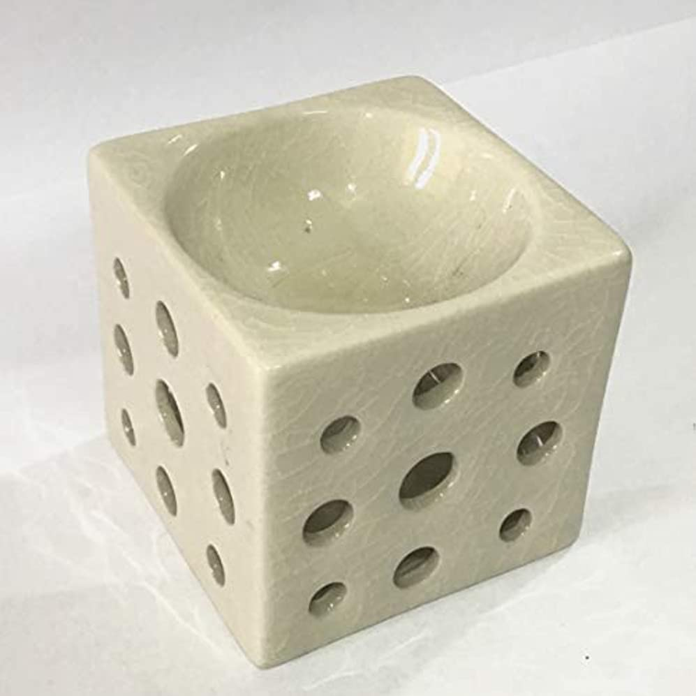 ターミナル活力ルームアロマポット (白) 角型 チェンマイ産 香炉 陶器 アロマ炉 タイ