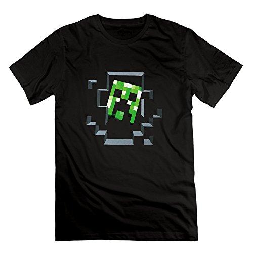 SmokyBird メンズ 半袖 tシャツ 可愛い 萌え クリーパー マインクラフト 人気プリントファッション XXL Black