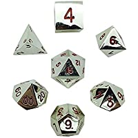 Set of 7 Lycanthrope Silver Full Metal Polyhedral Dice by Norse Foundry RPG Math Games DnD Pathfinder