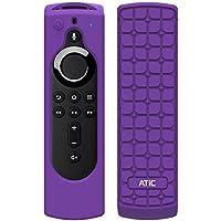 リモコンカバー ATiC 5.6インチ 新登場 Fire TV Stick 4K専用リモコンカバー シリコン製 耐衝撃 防水防塵 Alexa対応音声認識リモコン用保護カバー Purple