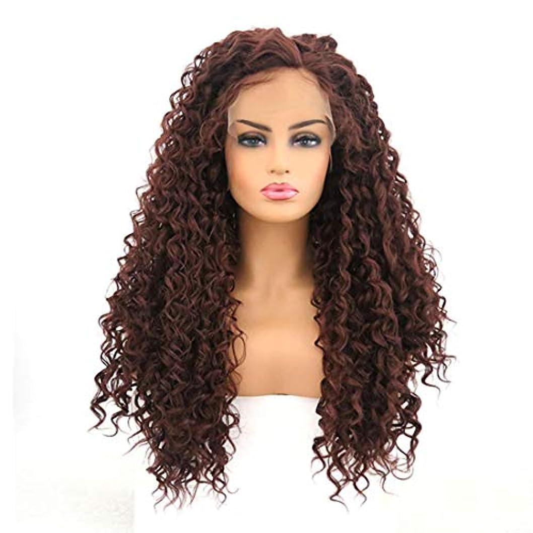 スライストンネル消すKerwinner 女性のための小さな巻き毛のかつらのフロントレースの小さな波ロングロール
