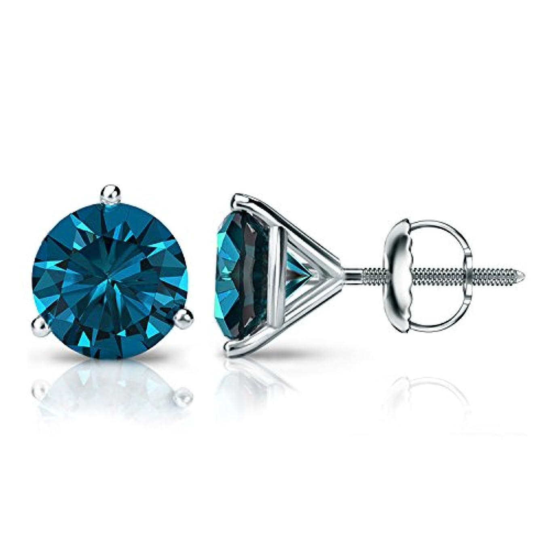 盗賊絶滅させる病んでいるプラチナラウンドブルーダイヤモンドメンズスタッドイヤリング3-prong Martini ( 1 / 4 – 2 ct、ブルー、i1 - i2 )スクリューバック
