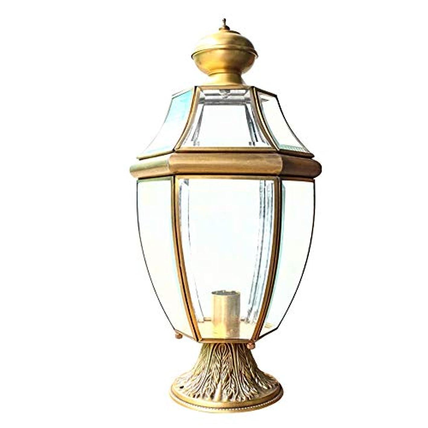 拾うリベラル城Pinjeer すべて銅屋外ガラスランタンE27レトロIP42防水ライト高級ガーデンポストライトアンチラスト風景装飾ピラーライトドアパークコミュニティバルコニー照明コラムランプ
