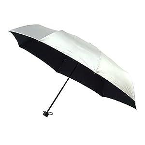 折りたたみ傘 手開き 日傘/晴雨兼用傘 シルバークールコーティング シルバー/ブラック 8本骨 60cm 3サイズ UVカット グラスファイバー骨 3944