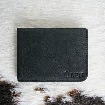 KALGHI Personalised Leather Travel Bi-fold Wallet Men's RFID Blocking Slim Light-Weight Wallet Custom Monogram -Black