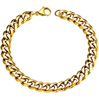 FOCALOOK Bracelet for Women Men 3.5MM/6MM/9MM/12MM Width 1:1 Curb Chain Stainless Steel/Black Gun Plated/18K Gold Plated Hiphop Jewelry Hand Chain Bangle Bracelets(Length 21CM)