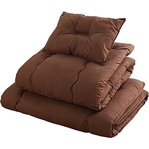 布団セット 4点セット 洗える ほこりの出にくい布団 きめ細やかなピーチスキン加工 固綿 軽量 低ホルムアルデヒド仕様 収納ケース付 シングル ブラウン