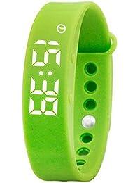 子供の男性のための女性の緑のスマート主導のデジタルシリコーンの腕時計カロリーブレスレットフィットネススポーツの学生
