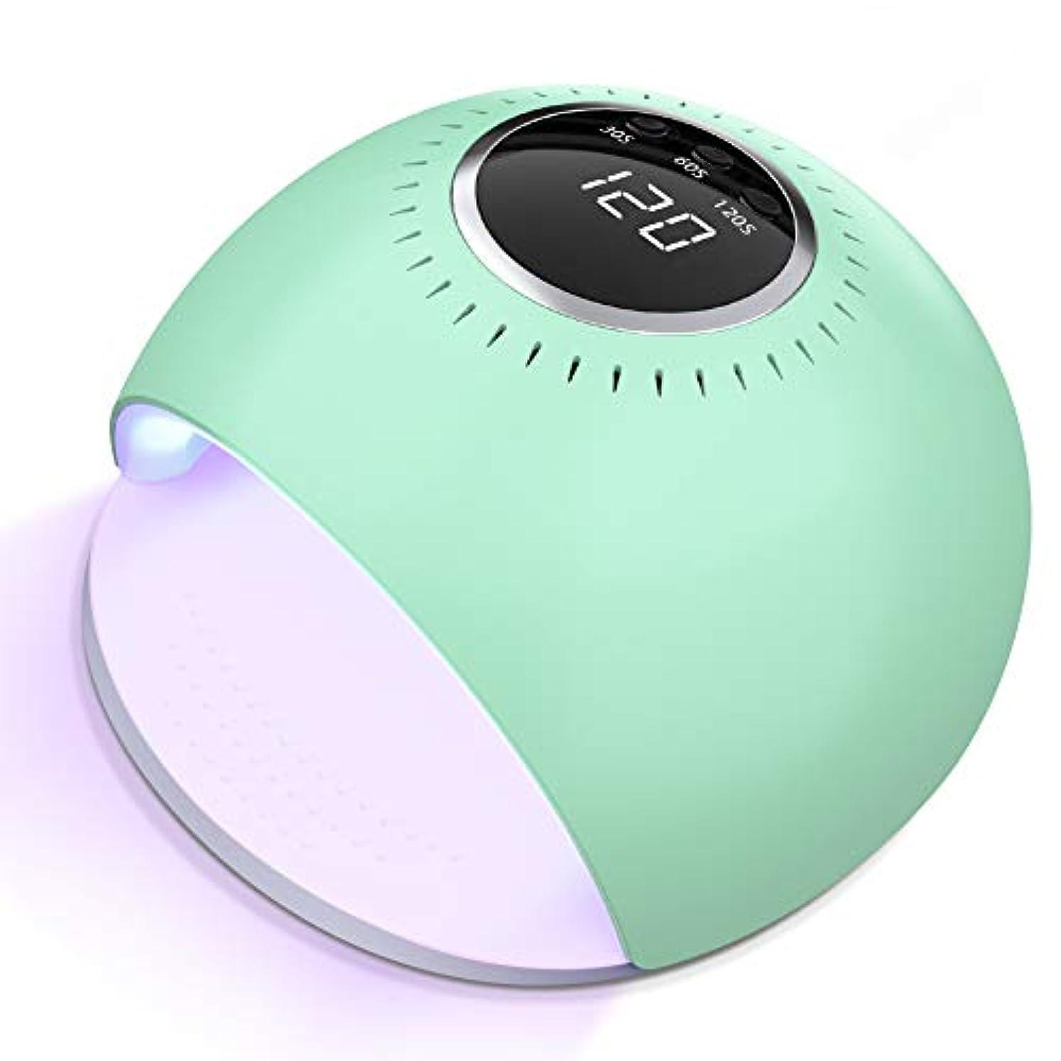 変形トロリーカニMACHITO UV LEDネイルドライヤー 84W ハイパワー 赤外線検知 UV &LEDダブルライト ジェルネイル用 硬化用 ライト 3つタイマー設定 美白 専用赤白ライト ランプ 日本語説明書付き 緑 …