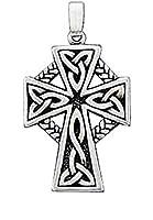 スターリングシルバーメンズ1.5MMボックスチェーンCeltic Braidキリスト教宗教クロスペンダントネックレス